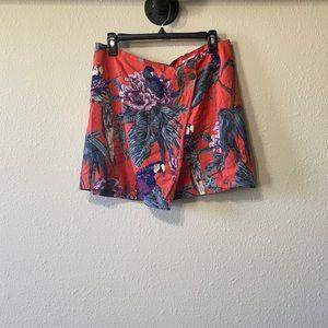 Cooperative Tropical Bird Linen Wrap Skirt Sz L